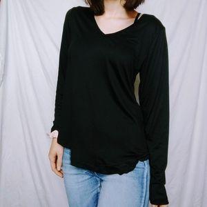 Black V Neck Super Soft Long Sleeve Shirt